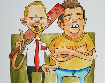 Ink and Watercolor - Shaun and Ed - Shaun of the dead