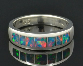 Lab Created Opal Wedding Ring in Sterling Silver, Lab Opal Ring, Lab Opal Wedding Band