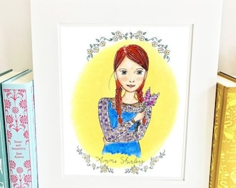 ON SALE Anne of Green Gables Print - illustrated - girls room decor - yellow - HA1