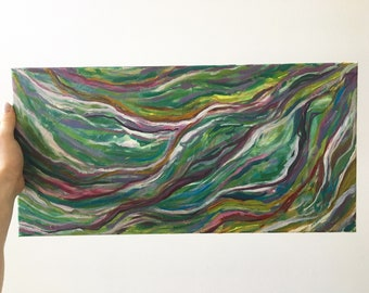 """Small painting, neutral colors, fluid lines, """"The Path To Travel"""""""
