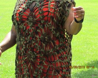 Camoflauge Tunic - Women's Tunic - Teen Crochet Tunic - Crochet Cover-up