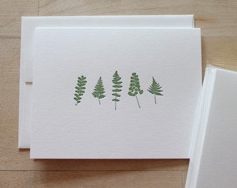 Letterpress Fern Notecards, Pack of 6