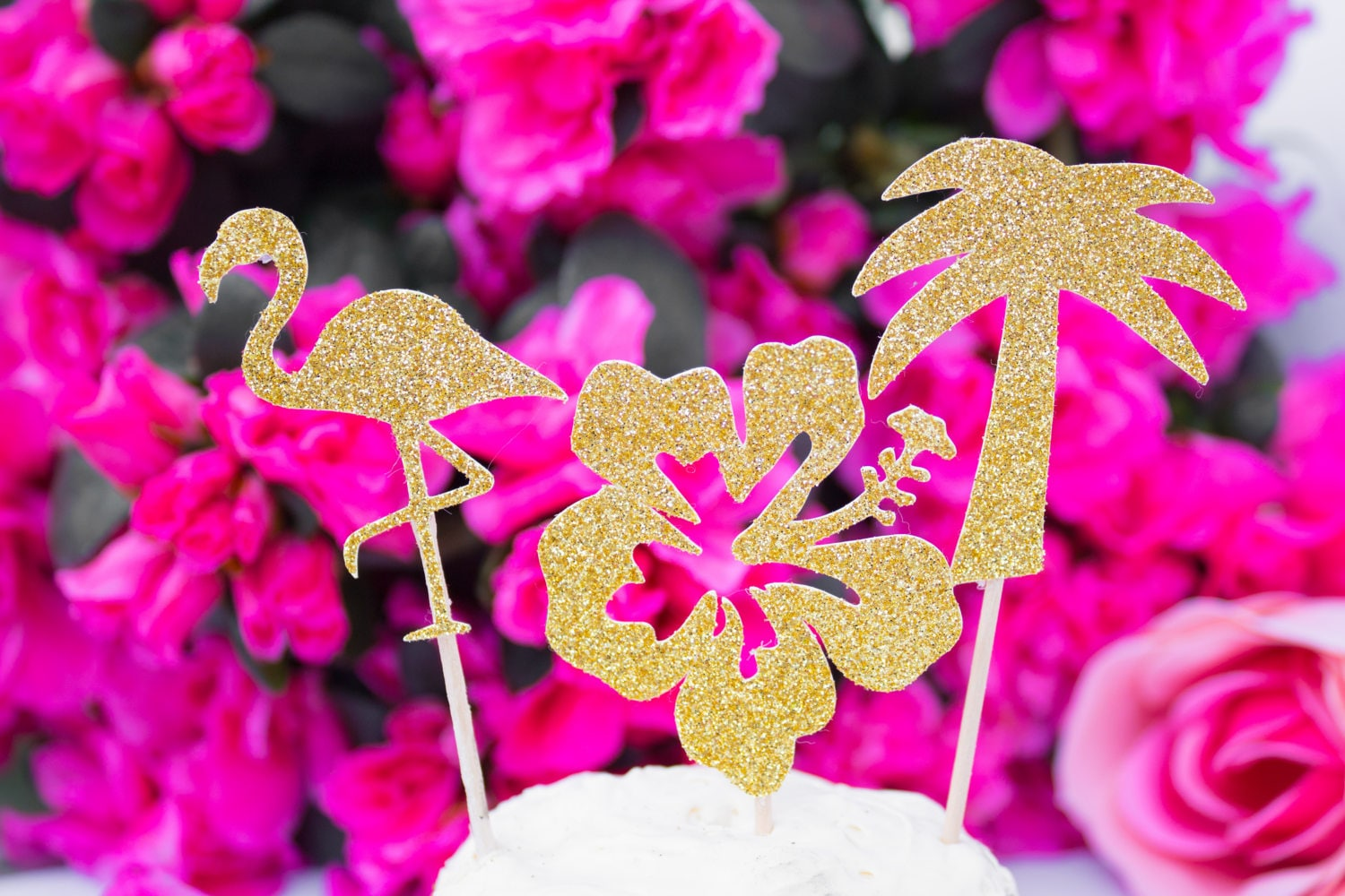 12CT Tropical Cupcake Toppers, Beach Party, Tropical Party, Hawaii ...