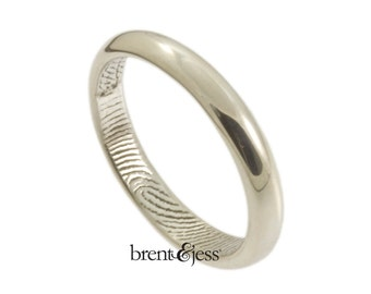 Finger tip print Ring Custom Half Round 2.5mm Low Dome Wedding or Commitment Band