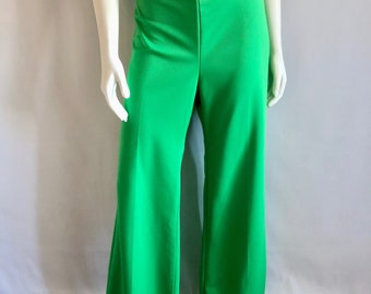 Vintage Unisex Adults 70's Green, Polyester Pants, High Waisted, Wide Leg (XL)