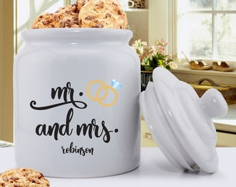 Personalized Mr. & Mrs. Wedding Ring Cookie Jar - Wedding Gifts - Personalized Couples Gift - Wedding Shower Gift - Personalized Cookie Jars