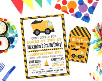 """Construction Themed Party Invitation AND Favor Tag -  Printable Digital Invite - 5x7"""" - Dump Truck Party Invitation"""