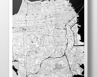 San Francisco Map Poster - B&W