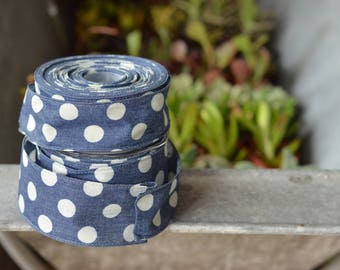 10 yard roll of denim and dots ribbon