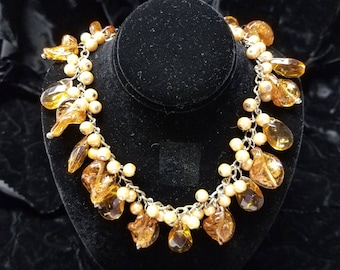 Vintage Mid-Century Modern Gold Toned Amber Faux Pearl and Amber Glass Bead Necklace