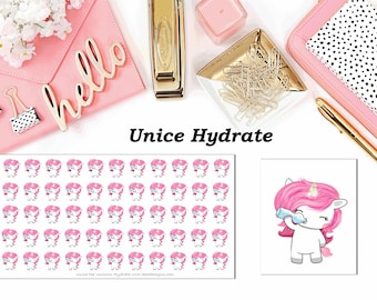 Unice the Unicorn Hydrate//Planner Character Stickers//EC//HP