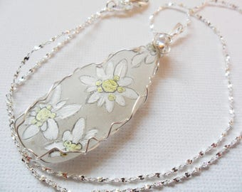 Edelweiss flowers - Hand painted sea glass necklace - 18 inch silver plated starry chain