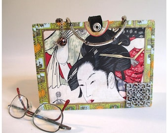 Cigar Box Handbag, Vintage Repurposed, Up-Cycled Romeo and Julietta Bag, Geisha Asian Fabric Mixed Media Decorative