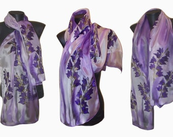 Purple Silk Scarf, Floral Scarves, Handpainted Silk Scarfs, Chiffon Scarf, Flower, Mom gift, Present for her, Wife gift,  Made to order