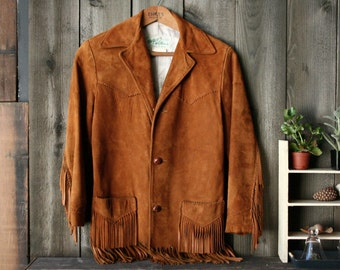 Vintage Leather Coat With Fringe Bohemian Fashion Tan Suede Leather Jacket Tregos West Wear lined 1950s