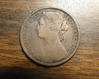 1874 Great Britain Penny - Great Old Coin!  #558