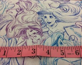 Disney Little Mermaid Ariel purple blue sketch Under the Sea Fabric,Ariel,Disney fabric,Ariel fabric,Little Mermaid fabric