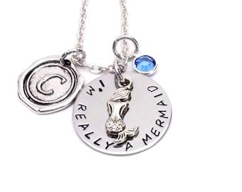 Mermaid - Necklace Personalized initial birthstone mermaid gift mermaid jewelry hand stamped mermaid charm custom handmade