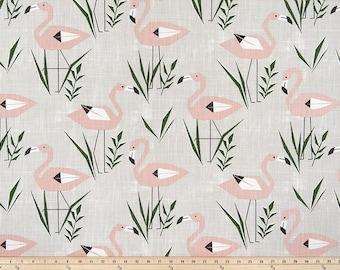 Grey  Fabric. Ringo Talia Prints.  Grey and Pink  Premier print. Slub canvass Fabric by yard. Medium decor fabric.
