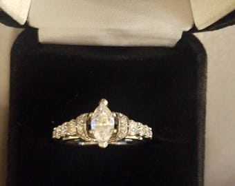 Diamond 14K White Gold GIA Certified Marquise Cut