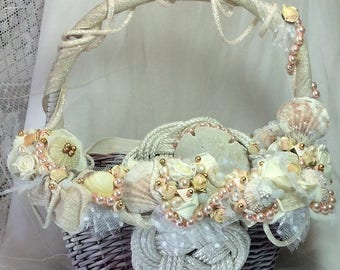 Beach Wedding Seashell Beach Decor Decorated Basket-Seashell Wedding-Rose Gold-Ivory Wedding-Decorations-Rustic Beach Wedding-Card Basket