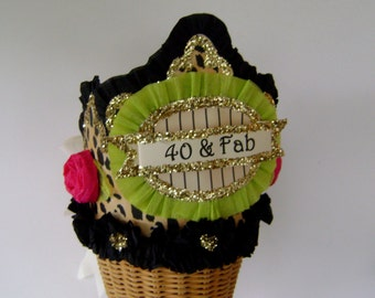 40th Birthday Party Crown, 40th birthday party hat, Adult Birthday hat, customize