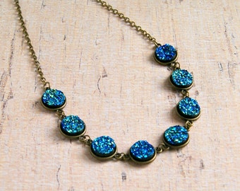 blue druzy necklace, bohemian jewelry, sparkle necklace, cabochon necklace, gift for women