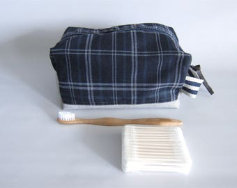 Rectangular toiletry handbag, toiletry boxy pouch, dopp kit, box pouch - Navy plaid