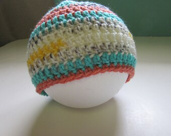 Baby Boys Cap, Infants, 6-12 months, Hat, Colorful, Toddler, Boys/Girls, Crochet knit, New Mothers Baby Shower Gift, Handmade Free Shipping