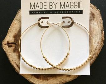 Large Hoop Earrings - 2 1/4 Inch Hoop Earrings - Beaded Hoop Earrings - Gold or Silver