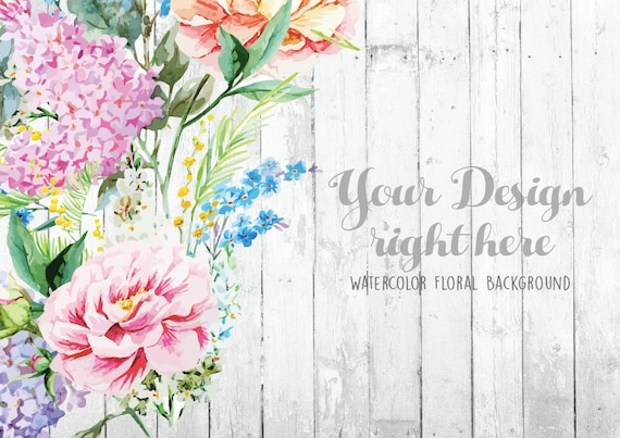 Retro Floral Background Rustic White Wood Mockup Hand