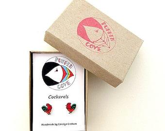 Cockerel Earrings, Bird Studs, Birds, Nature, Gift for Her, For Mum, Jewellery, Girls's Gift, Chicken, Rooster