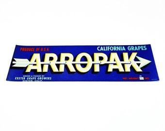 Vintage New Old Stock Unused ARROWPAK Vegetable / Fruit Crate Label