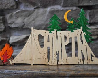 Camping Tent with Campfire FUN Hand Cut Wooden Puzzle Made in USA