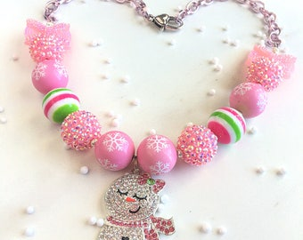 Christmas Necklace for Girls - Bubblegum Christmas Necklace - Stocking Stuffer for Kids - Little Girl Christmas Gift - Little Girl Necklace
