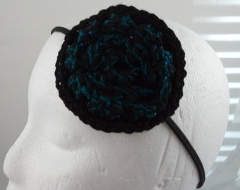 Crocheted Large Rose Headband - Black and Sparkly Blue (SWG-HH-FLLR02)