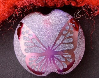 "Handmade Lampwork Focal Bead ""Violet Butterfly"" SRA Sandblasted Glass ~ Iridescent Lustre Picture Bead ~ Pinks & Purples"