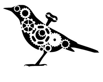 """6/6"""" steampunk cogs bird stencil 1."""