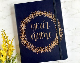 Customizable Navy Blue Journal with Embossed Gold Floral Wreath | Personalized Bullet Journal | Navy Blue Notebook | Dot Paper Journal