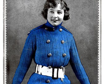 1910s WWI Military Inspired Sweater Coat Knitting E-Pattern- PDF Knitting Pattern Download