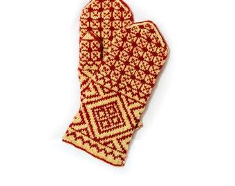 BIG SALE Knit mittens, wool mittens, patterned mittens, red mittens, Jacquard, gift idea, hand warmers, cute mittens, warm mittens, present