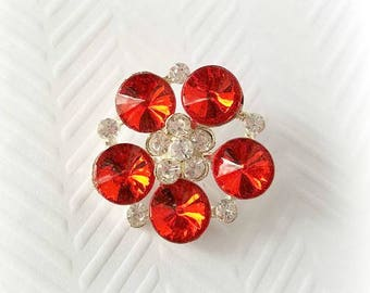 Large Red Rhinestone Buttons. 30 mm.