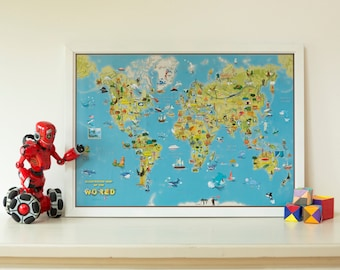 Glow in the dark world map home decor bedroom living kids cartoon map of the world wall map map poster kids map bedroom push pin map cartoon map wall map wall hanging free shipping gumiabroncs Choice Image