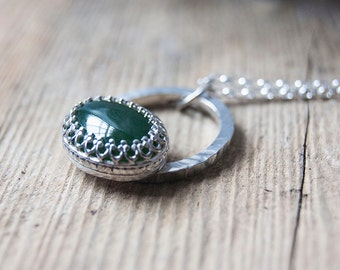 Green onyx and silver pendant, vintage style pendant, green stone pendant, oval stone pendant, artisan jewellery