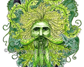 GreenMan of Grapevines Print Pagan Fantasy Art Nature Mythology Altar Decor Pen and Ink Watercolor Illustration