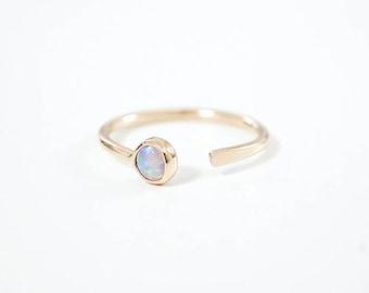 Adelphe open Opal ring. 14K yellow gold