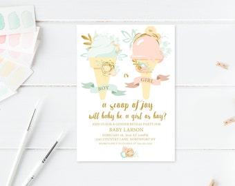 Gender Reveal Invitation, Gender Reveal Party, A Scoop Of Joy, Ice Cream Gender Reveal Party Invitation, Vintage Gender Reveal Invites [436]