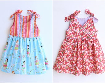 PETITE FILLE Style Girl Dress sewing pattern Pdf, Wrapped, Knotted Straps Sundress, toddler dress, size 3 4 5 6 7 8 9 10 yrs