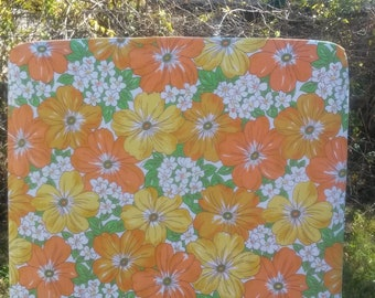 Vintage Orange and Yellow Floral Fitted Cot Sheet, Cot Sheets, Fitted Cot Sheets, Crib Sheet
