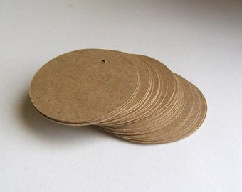 Round Die Cut Circle Tags with Holes - Brown Kraft Card Stock Paper - 2 inch (set of 40)